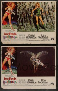 7w066 BARBARELLA 8 LCs '68 sexy sci-fi images of Jane Fonda, Roger Vadim directed!