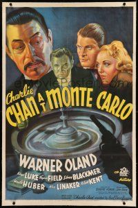 7x079 CHARLIE CHAN AT MONTE CARLO linen 1sh '37 stone litho of Warner Oland over roulette wheel!