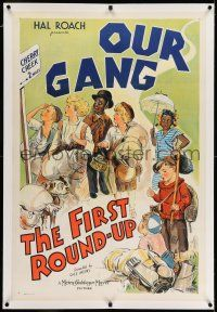 7x132 FIRST ROUNDUP linen 1sh '34 stone litho of Stymie, Spanky, Buckwheat & other Our Gang kids!