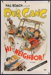 7x174 HI NEIGHBOR linen 1sh '34 fantastic stone litho of Our Gang kids in homemade fire engine!