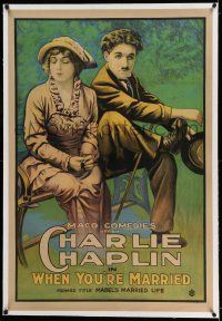 7x236 MABEL'S MARRIED LIFE linen 1sh R20s stone litho of Charlie Chaplin, When You're Married, rare!