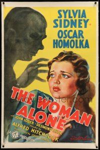 7x333 SABOTAGE linen 1sh '36 Hitchcock, art of Sylvia Sidney & menacing shadow, The Woman Alone!