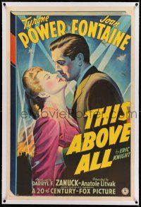 7x388 THIS ABOVE ALL linen 1sh '42 Fox stone litho of Tyrone Power about to kiss Joan Fontaine!