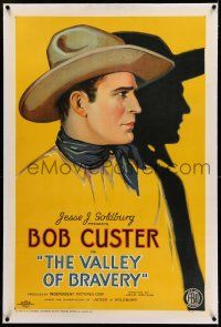 7x409 VALLEY OF BRAVERY linen 1sh '26 incredible stone litho of cowboy hero Bob Custer with shadow!