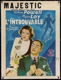 7y273 THIN MAN linen pre-War Belgian '34 William Powell & Myrna Loy + silhouette art, different!
