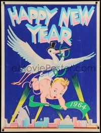 7z022 HAPPY NEW YEAR 1964 30x40 '64 great artwork of stork carrying baby high above city!