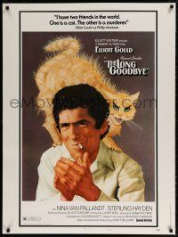 7z046 LONG GOODBYE style B 30x40 '73 great different art of scared cat on Elliott Gould's shoulder!
