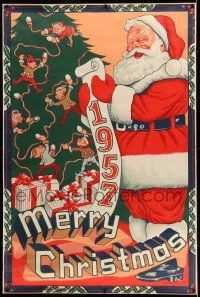 7z001 MERRY CHRISTMAS 1957 40x60 '57 great artwork of Santa Claus with his list by tree & presents!