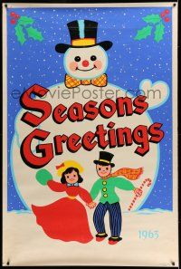 7z002 SEASONS GREETINGS 1963 40x60 '63 great art of happy kids playing with gigantic snowman!