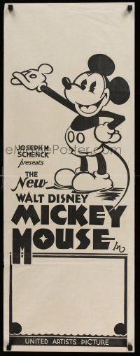 7z130 NEW WALT DISNEY MICKEY MOUSE long Aust daybill 32 cartoon art of Mickey with pie-cut eyes