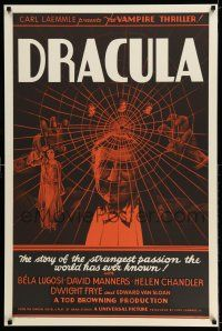 7z017 DRACULA S2 recreation 1sh 1999 Tod Browning, most classic vampire Bela Lugosi, best horror!