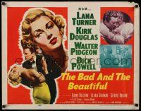 7z069 BAD & THE BEAUTIFUL style A 1/2sh '53 great art of Kirk Douglas manhandling sexy Lana Turner!