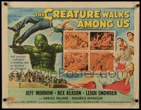 7z074 CREATURE WALKS AMONG US style A 1/2sh '56 great Reynold Brown art of monster throwing man!
