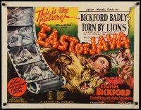 7z077 EAST OF JAVA 1/2sh '35 capitalizing on Bickford's real life lion attack during filming!