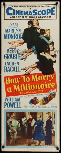 7z055 HOW TO MARRY A MILLIONAIRE insert '53 sexy Marilyn Monroe, Betty Grable & Lauren Bacall!