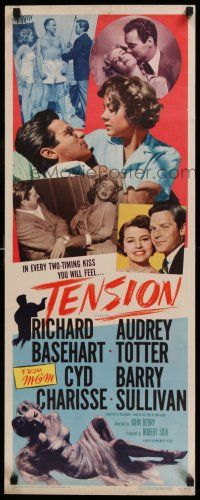 7z063 TENSION insert '49 5 images of sexy Audrey Totter giving Richard Basehart two-timing kisses!