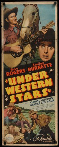 7z065 UNDER WESTERN STARS insert '38 Roy Rogers 1st starring movie w/Trigger & Smiley, ultra rare!
