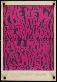 7z025 NEW GENERATION/JAYWALKERS/CHARLATANS 1st printing 14x20 music concert poster '66 Wilson art!