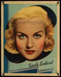 7z037 CAROLE LOMBARD personality poster '36 wonderful portrait of the sexy star + deco border art!