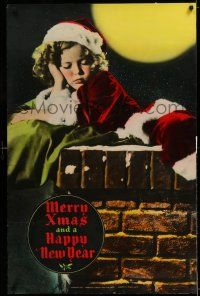 7z021 MERRY XMAS & A HAPPY NEW YEAR 27x42 special '35 Shirley Temple as Santa asleep on chimney!
