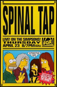 7z040 SPINAL TAP LIVE! ON THE SIMPSONS! TV poster '92 parody art of Homer & band by Matt Groening!