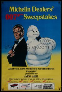 7z009 VIEW TO A KILL special 33x49 '85 Storozyk art of Roger Moore as James Bond w/ Michelin Man!