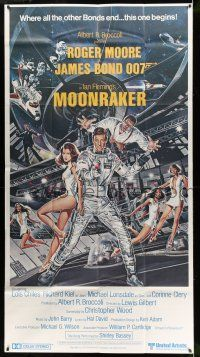 8a012 MOONRAKER 3sh '79 art of Roger Moore as James Bond & sexy space babes by Daniel Goozee!