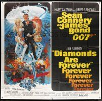 8a009 DIAMONDS ARE FOREVER int'l 6sh '71 art of Sean Connery as James Bond by Robert McGinnis!