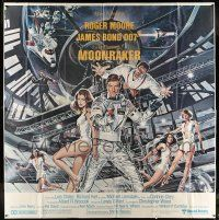 8a010 MOONRAKER 6sh '79 art of Roger Moore as James Bond & sexy space babes by Daniel Goozee!