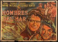 8a018 LONG VOYAGE HOME Argentinean 39x55 '40 John Ford, different art of John Wayne & Mitchell!