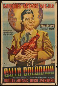 8a020 EL GALLO COLORADO Argentinean '57 cool art of Miguel Aceves Mejia holding The Red Rooster!