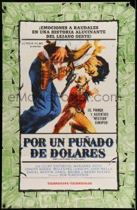 8a021 FISTFUL OF DOLLARS Argentinean '65 Sergio Leone & Clint Eastwood, cool dollars border art!
