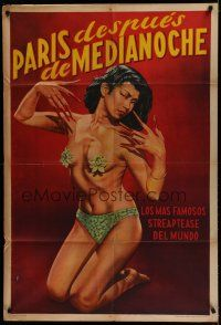 8a023 PARIS AFTER MIDNIGHT Argentinean '51 art of sexy burlesque showgirl with long fingernails!