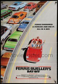 8a188 FERRIS BUELLER'S DAY OFF English 1sh '86 completely different art of Broderick in Ferrari!