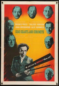 8a198 KIND HEARTS & CORONETS English 1sh '49 Alec Guinness in 8 roles, Price wanted to murder them!