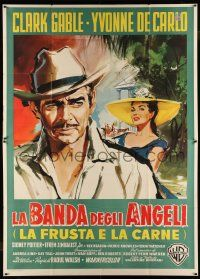 8a015 BAND OF ANGELS Italian 2p '58 different Nano art of Clark Gable & sexy Yvonne De Carlo!