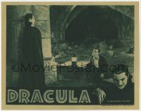 8a064 DRACULA LC R39 great image of Dwight Frye kneeling by vampire Bela Lugosi, Tod Browning!