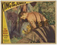 8a075 KING OF THE JUNGLE LC '33 barechested Lion Man Buster Crabbe in loincloth killing lion!