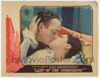 8a076 LADY OF THE PAVEMENTS LC '29 D.W. Griffith, romantic c/u of William Boyd kissing Lupe Velez!