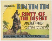 8a046 RINTY OF THE DESERT TC '28 wonderful image of canine star Rin Tin Tin howling at the moon!