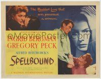 8a049 SPELLBOUND TC '45 Alfred Hitchcock, Ingrid Bergman & Gregory Peck have the maddest love!