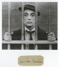 8a027 BUSTER KEATON signed 1x3 cut album page '50s can framed with an original still or repro!