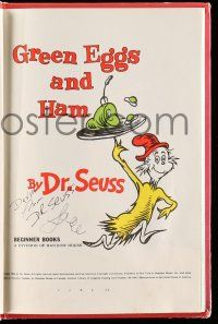 8a029 DR. SEUSS signed hardcover book '60 on his famous children's book Green Eggs and Ham!