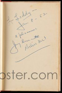 8a030 JIMMY DURANTE signed hardcover book '51 on the legendary comedian's biography Schnozzola!
