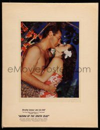 8b023 ALOMA OF THE SOUTH SEAS color 7.5x9.25 still '51 Dorothy Lamour embracing Jon Hall by Richee!