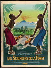 8b035 MASTERS OF THE CONGO JUNGLE French 1p '60 Grinsson art of obligatory topless native women!