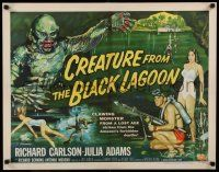 8b097 CREATURE FROM THE BLACK LAGOON style B 1/2sh '54 Reynold Brown art of monster & divers!