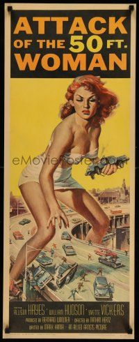 8b153 ATTACK OF THE 50 FT WOMAN insert '58 classic art of enormous Allison Hayes over highway!