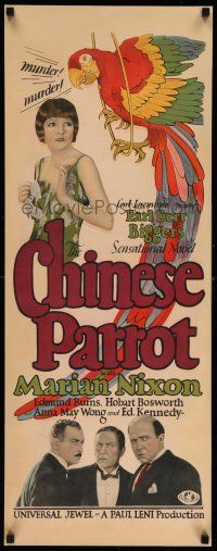 8b158 CHINESE PARROT insert '27 cool image, 2nd Charlie Chan ever, Paul Leni directed, ultra rare!