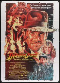 8b046 INDIANA JONES & THE TEMPLE OF DOOM Italian 1p '84 different art of Harrison Ford by Drew!